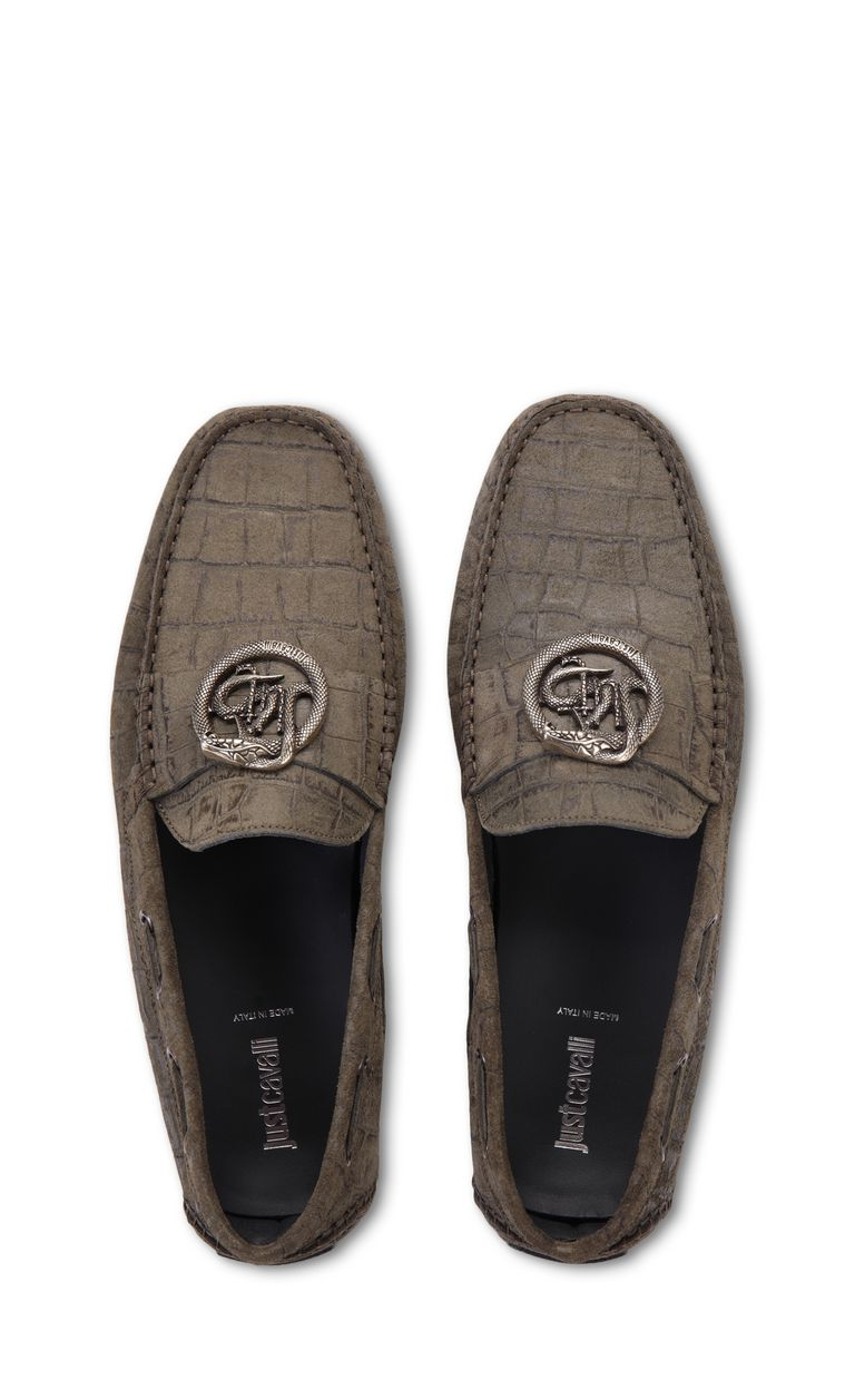 JUST CAVALLI Crocodile-effect suede loafer Moccassins Man d