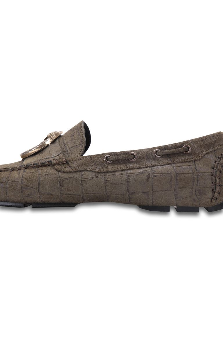 JUST CAVALLI Crocodile-effect suede loafer Moccassins Man e