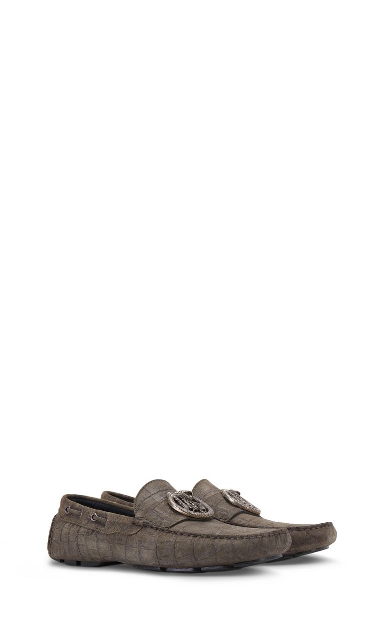 JUST CAVALLI Crocodile-effect suede loafer Moccassins Man r