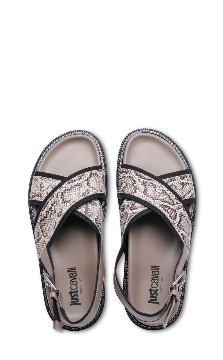 JUST CAVALLI Python-print crossover sandals Sandals Man d