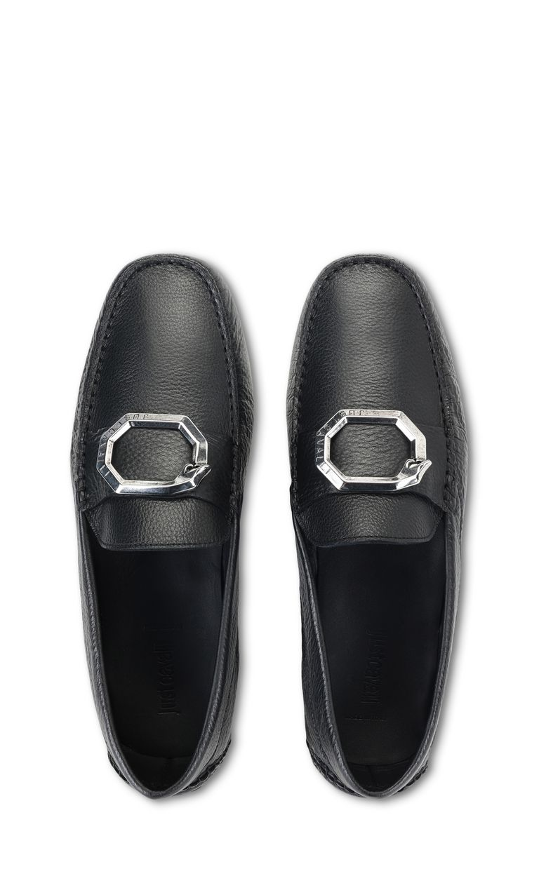 JUST CAVALLI Loafer in tumbled leather Moccassins Man d
