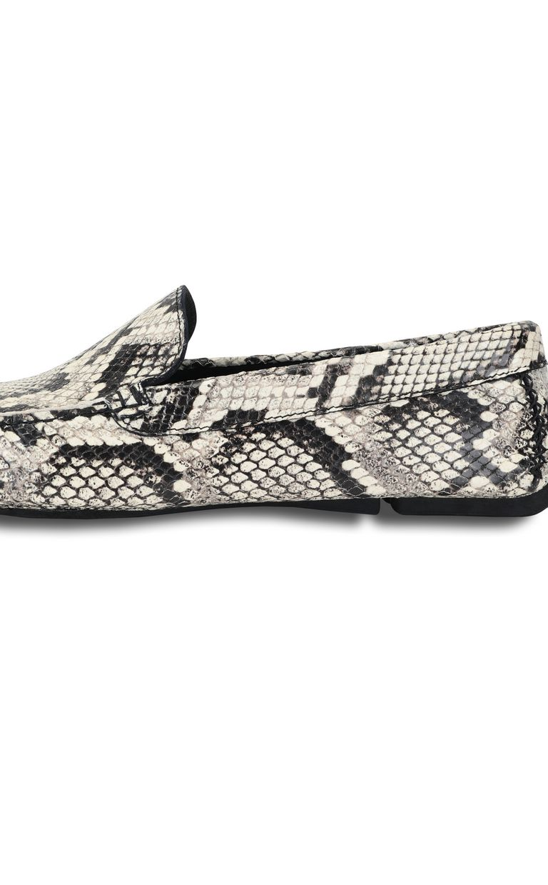 JUST CAVALLI Python-print leather loafer Moccassins Man e