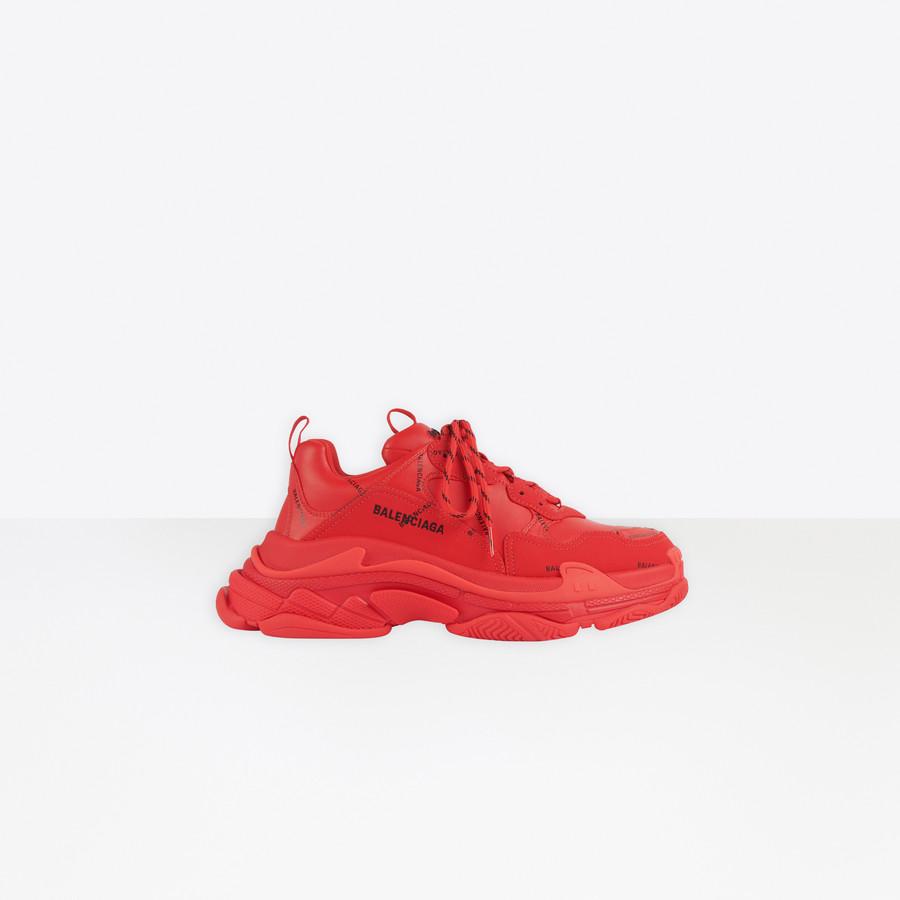 Allover Logo Triple S Sneaker Red for