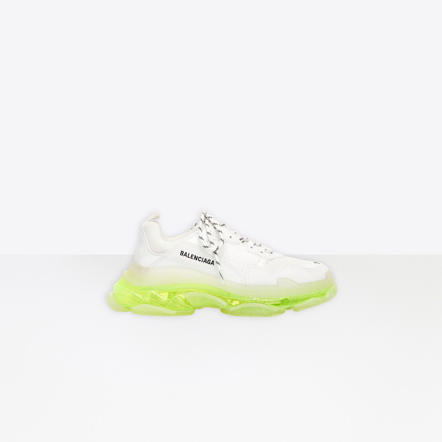 Triple S Clear Sole Sneaker WHITE/FLUO