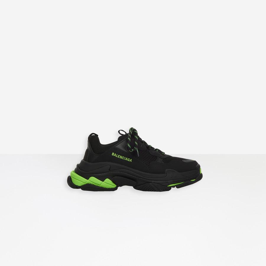 Triple S Sneaker BLACK/FLUO GREEN for