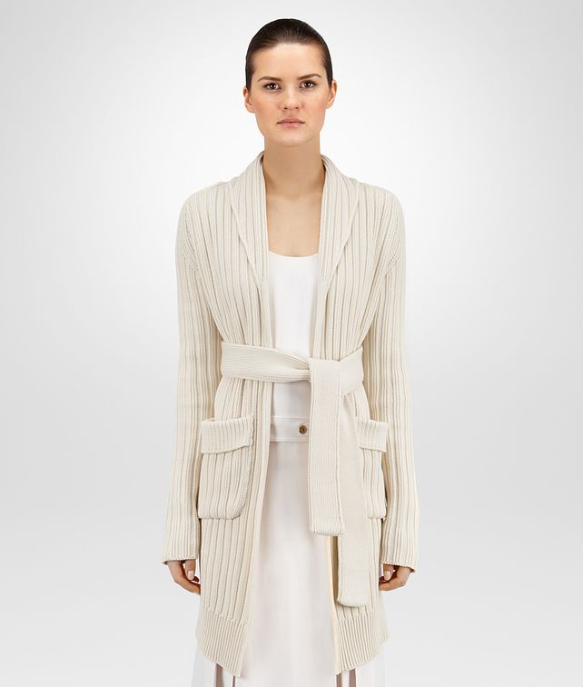BOTTEGA VENETA CARDIGAN IN MIST HEAVY COTTON RIBBED KNIT Knitwear or Top or Shirt Woman fp