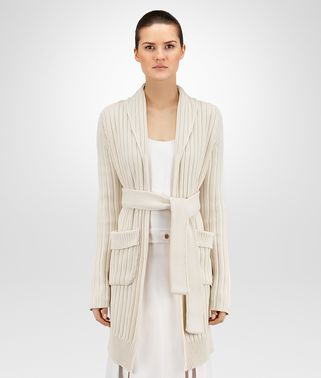 CARDIGAN IN MIST HEAVY COTTON RIBBED KNIT