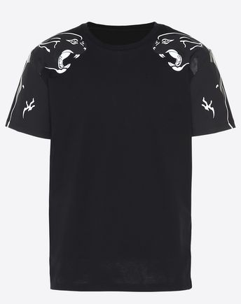 VALENTINO T-SHIRT WITH PANTHER PRINT ON SHOULDERS 12003800IB
