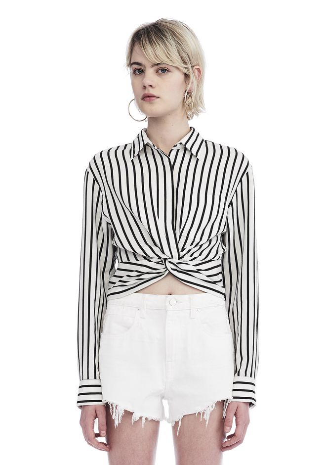 T by ALEXANDER WANG TOPS STRIPED TWIST FRONT CROP LONG SLEEVE SHIRT