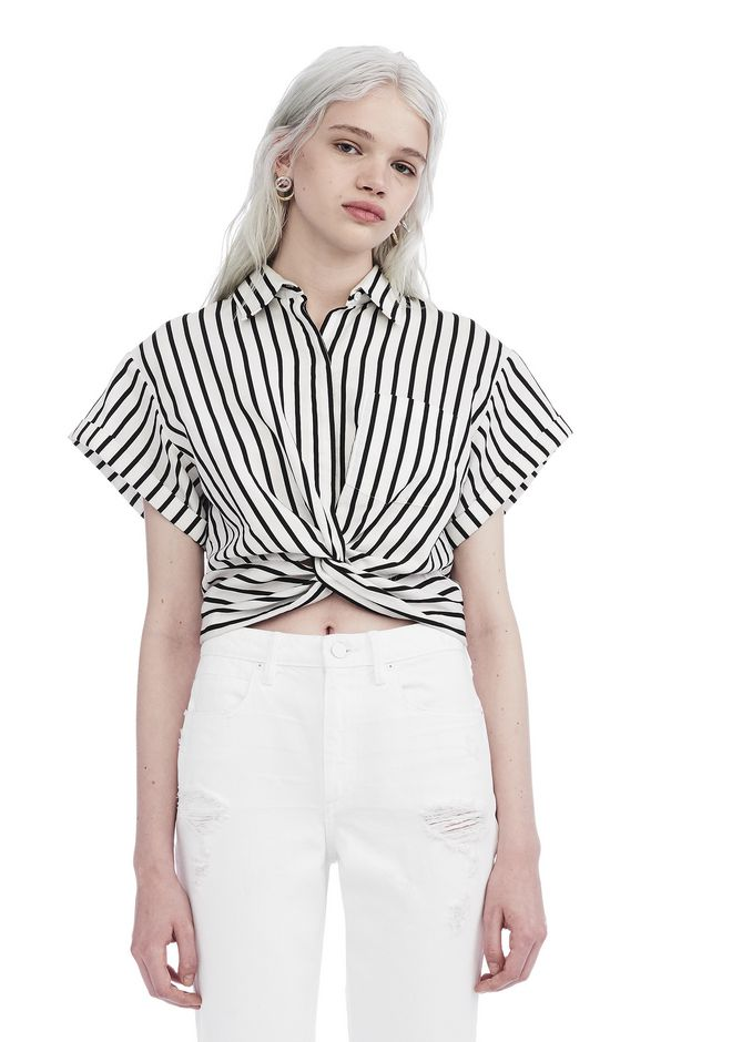 T by ALEXANDER WANG TOPS Women STRIPED TWIST FRONT SHORT SLEEVE CROP SHIRT