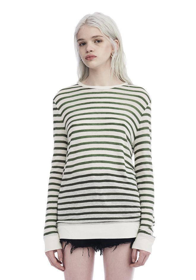 T by ALEXANDER WANG TOPS Women STRIPE LINEN LONG SLEEVE TEE