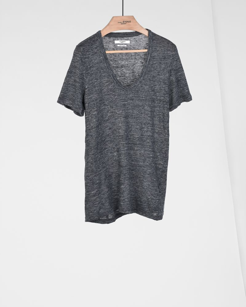 Kranger Short sleeved linen v neck t shirt  ISABEL MARANT ÉTOILE