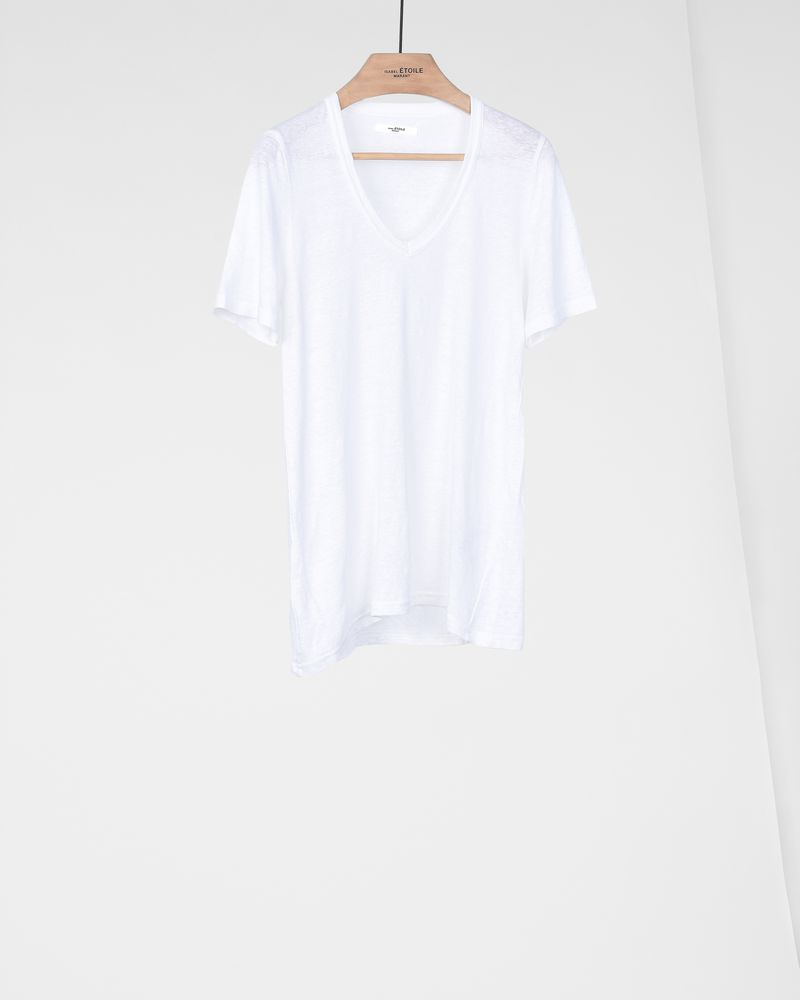 Kranger Short sleeved linen v neck t-shirt  ISABEL MARANT ÉTOILE