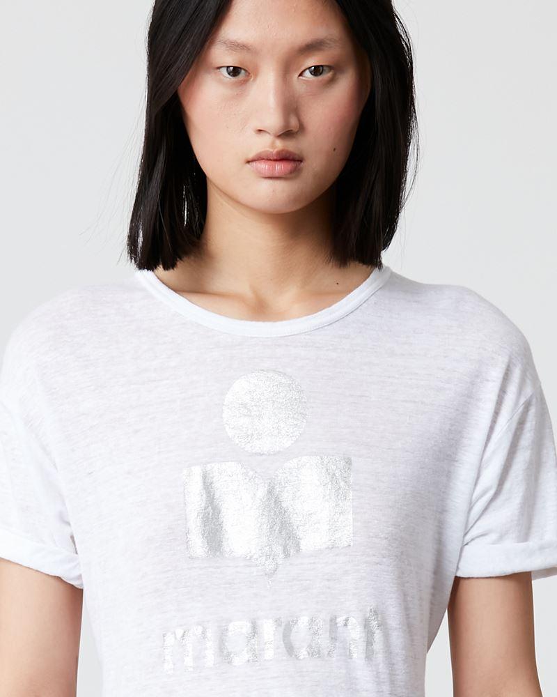 Koldi Short sleeved linen t shirt with metallic, printed logo ISABEL MARANT ÉTOILE