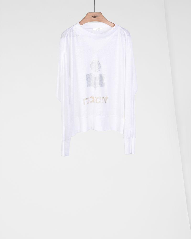 Kilsen Long-sleeved high collar linen t-shirt with metallic, printed logo ISABEL MARANT ÉTOILE