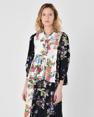 Ivia Floral print silk crepe de chine blouse