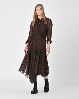 Javene Floral print asymmetric maxi dress