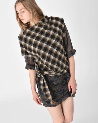 Pit Asymmetric checked wool top