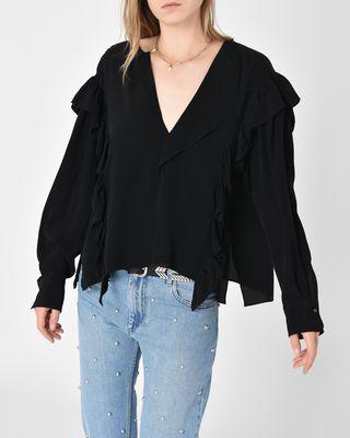 Welby Fluid ruffle cupro blouse