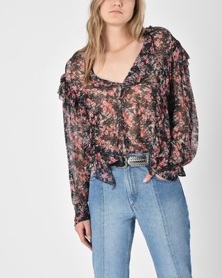 Jelby Floral print ruffle blouse