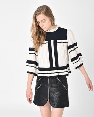 Ritz Two-tone cotton gauze blouse