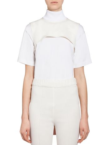 MARNI Top D Bow collar in techno jersey f