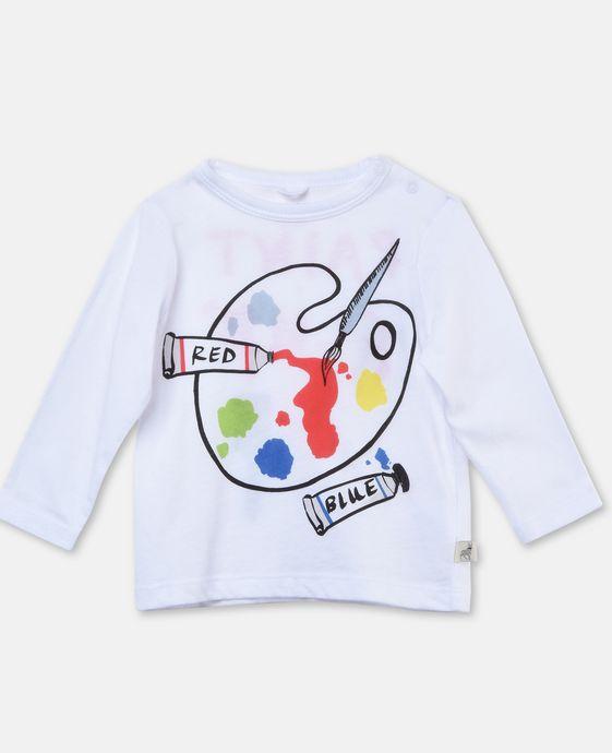 Weißes Shirt Georgie mit Farbpaletten-Print