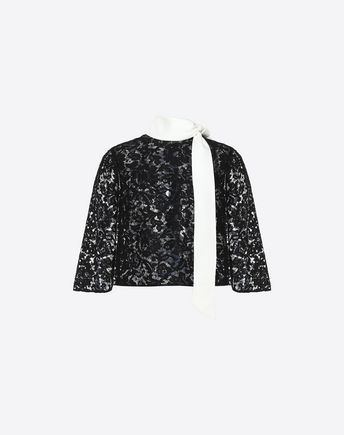 VALENTINO TOP D Heavy Lace cape top f