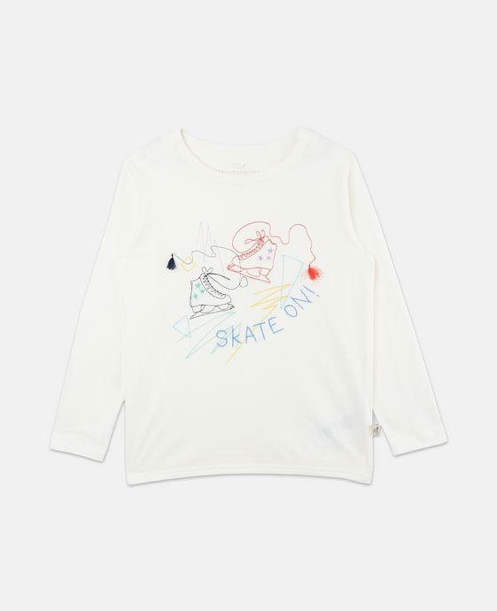 Rose White Skate Embroidery Top