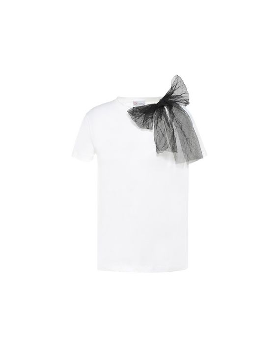 Redvalentino Tulle Bow Detailed T Shirt