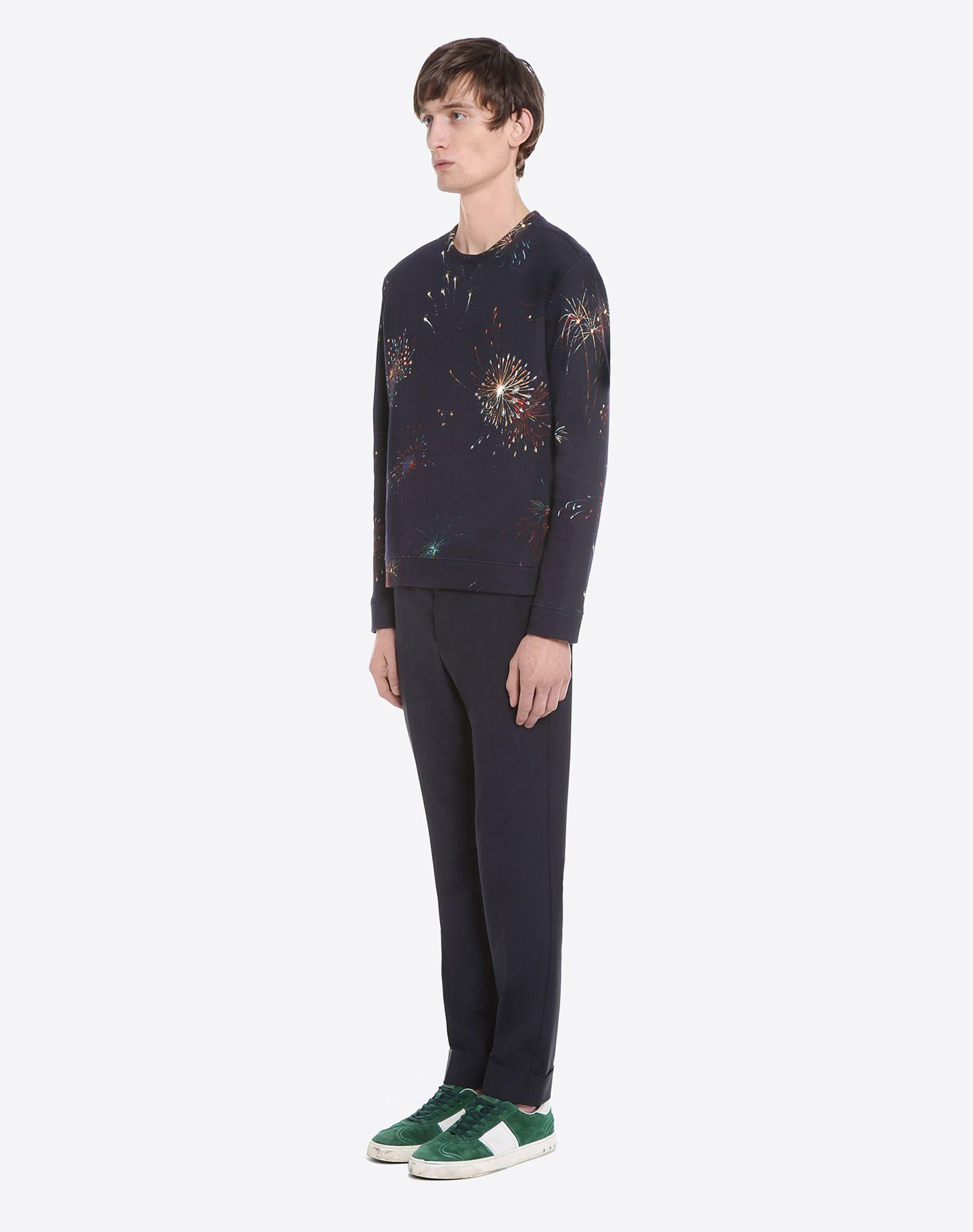 VALENTINO Studs Sweatshirt fleece Round collar Long sleeves  12026764qm