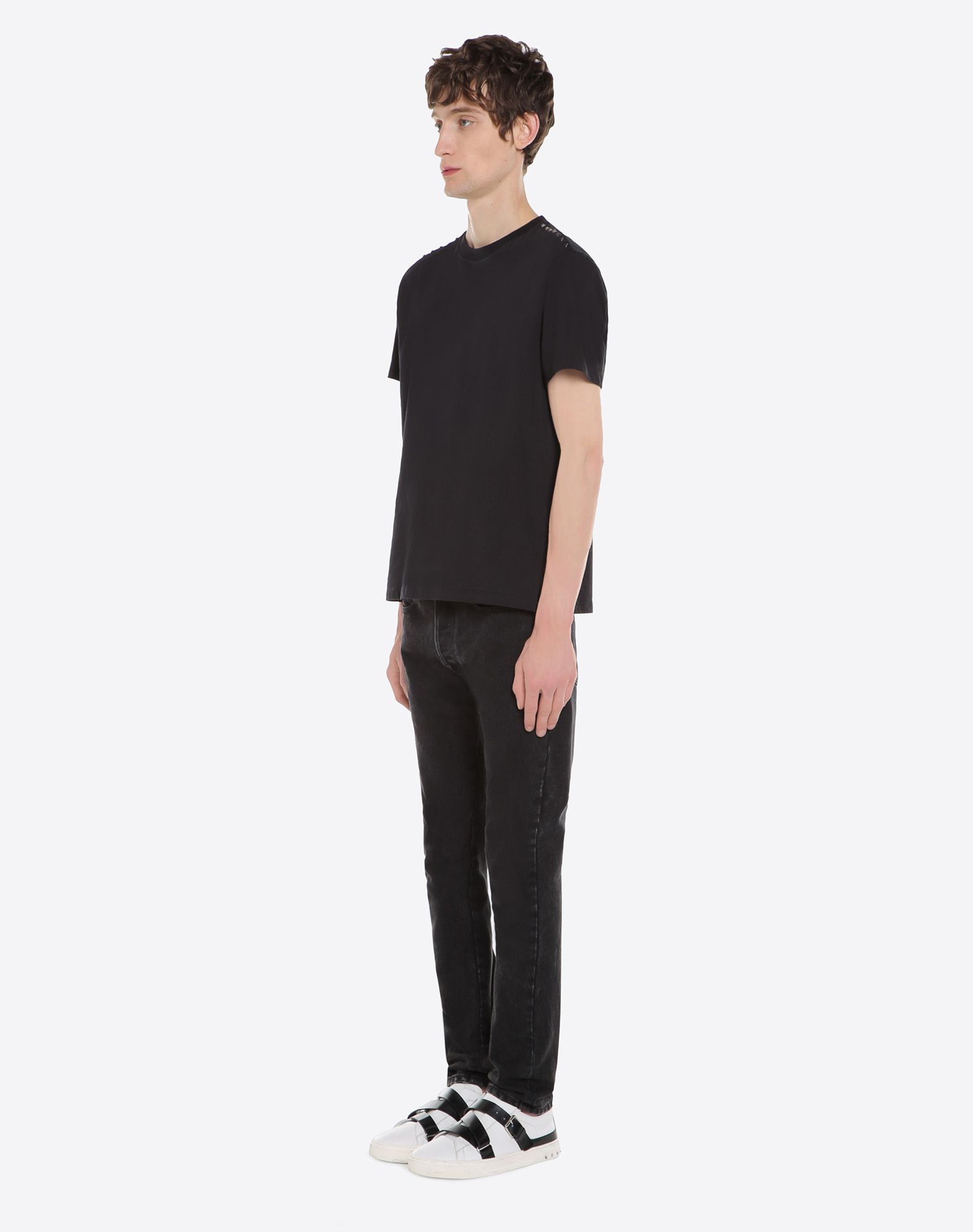 VALENTINO Studs Jersey Round collar Side slit hemline Short sleeves  12026771ll