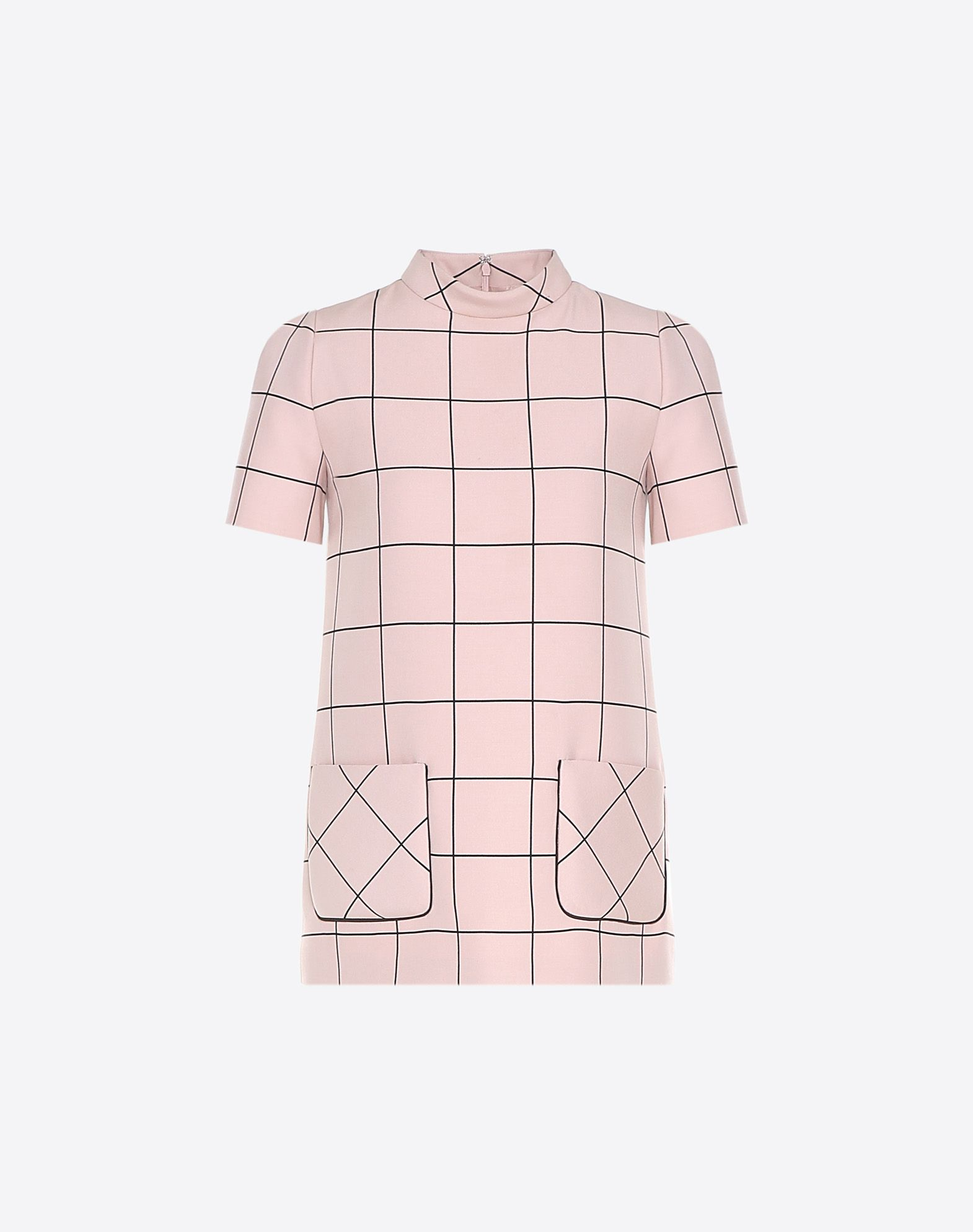 VALENTINO Crêpe Checked design Turtleneck Two pockets Hook-and-bar, zip Short sleeves  12027385cd