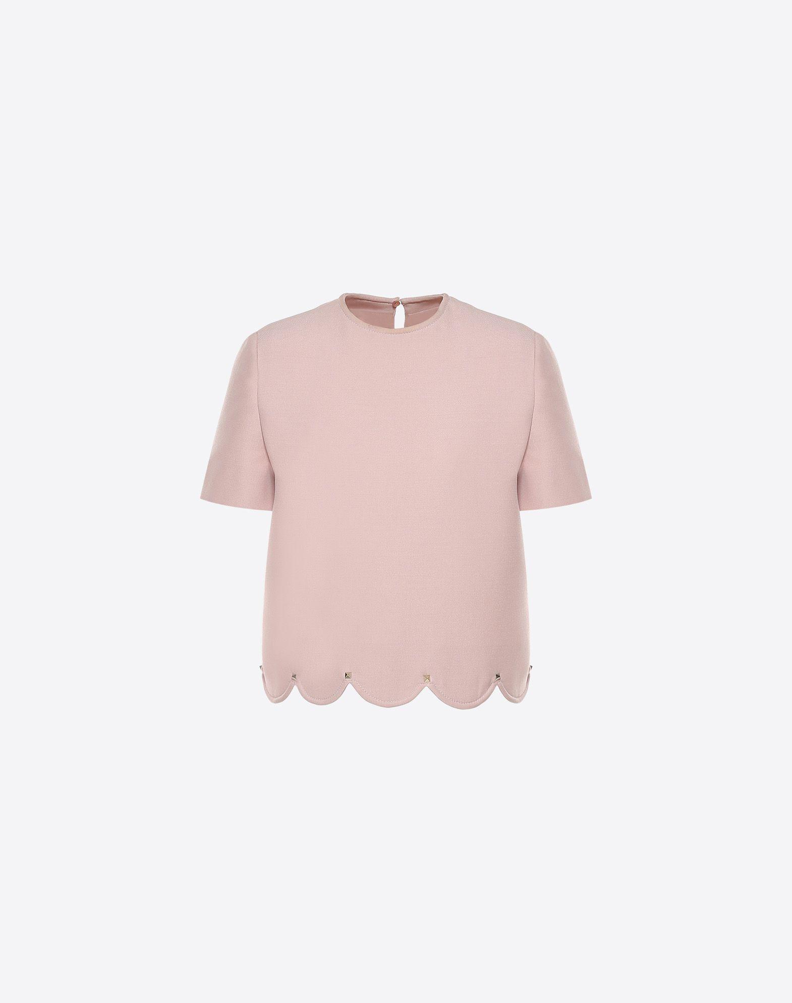 VALENTINO Studs Crêpe Round collar Rear button closure Darts Short sleeves  12027386sv