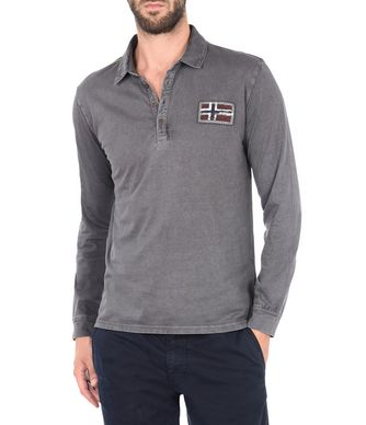 NAPAPIJRI EVANSTON MAN LONG SLEEVE POLO,LEAD