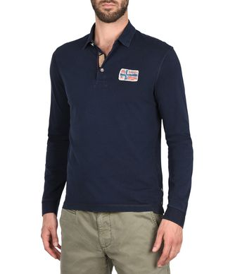 NAPAPIJRI EKWOK MAN LONG SLEEVE POLO,DARK BLUE