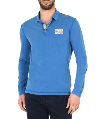 NAPAPIJRI EKWOK MAN LONG SLEEVE POLO,BLUE