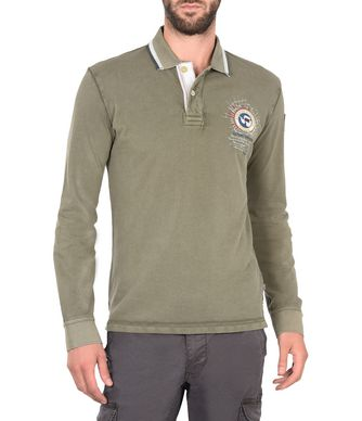 NAPAPIJRI GANDY LONG SLEEVES MAN LONG SLEEVE POLO,MILITARY GREEN