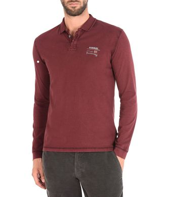 NAPAPIJRI EGEGIK LONG SLEEVES UOMO POLO MANICHE LUNGHE,BORDEAUX