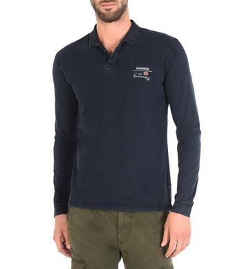 NAPAPIJRI EGEGIK LONG SLEEVES MAN LONG SLEEVE POLO,DARK BLUE