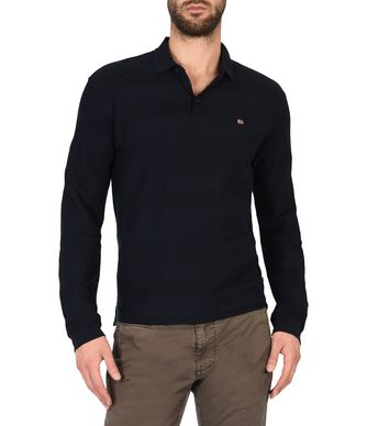 NAPAPIJRI EMBRUN MAN LONG SLEEVE POLO,DARK BLUE