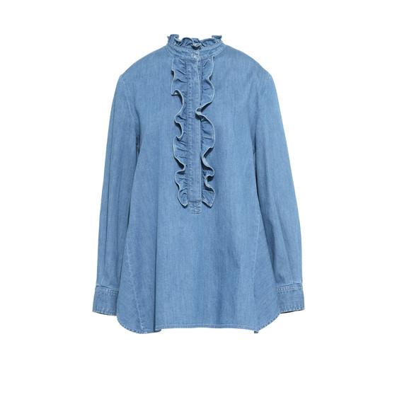 Denim Ruffled Shirt