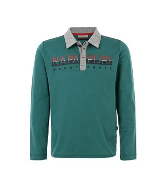NAPAPIJRI K EGEK KID KID LONG SLEEVE POLO,EMERALD GREEN