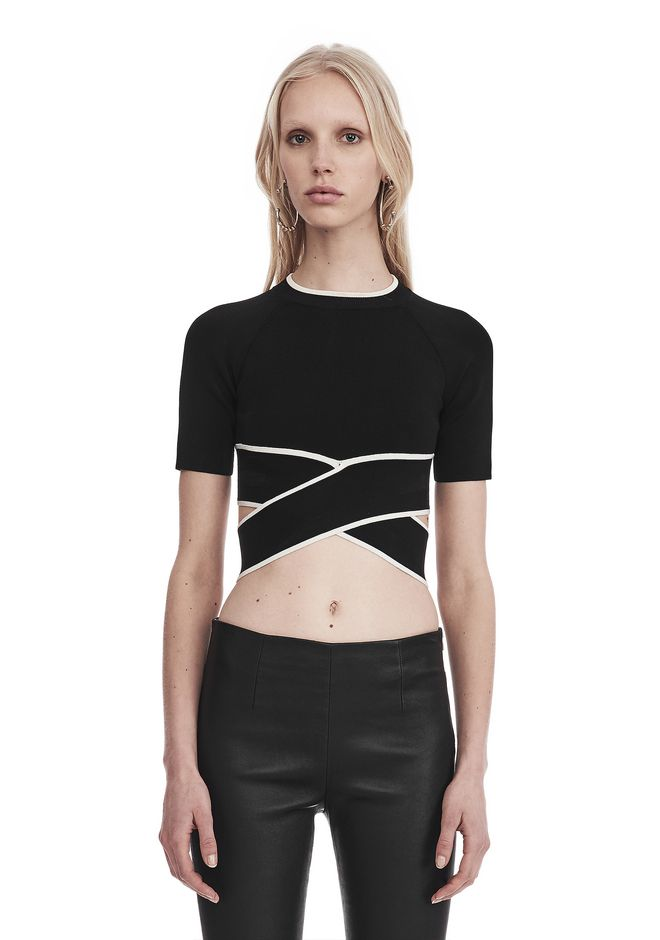 T by ALEXANDER WANG TOPS KNIT CRISS-CROSS TOP WITH TIPPING