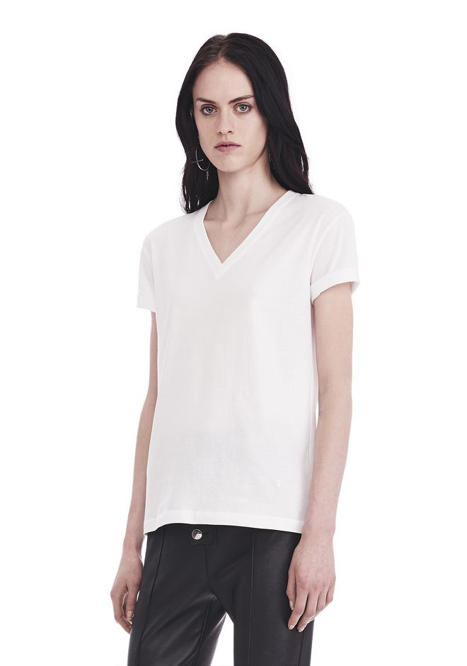 T by ALEXANDER WANG SUPERFINE JERSEY V-NECK TEE 上衣 Adult 12_n_a