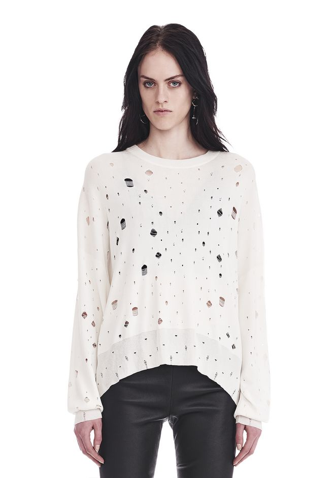 T by ALEXANDER WANG knitwear-t-by-alexander-wang-woman OVERSIZED KNIT CREWNECK SWEATER