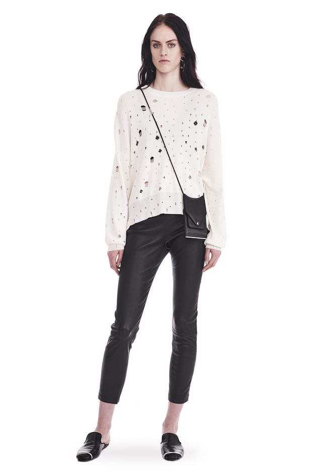 Oversized Knit Crewneck Sweater, White