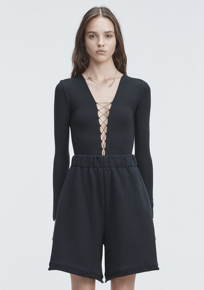 T by ALEXANDER WANG t-by-alexander-wang-classics LACE UP LONG SLEEVE BODYSUIT