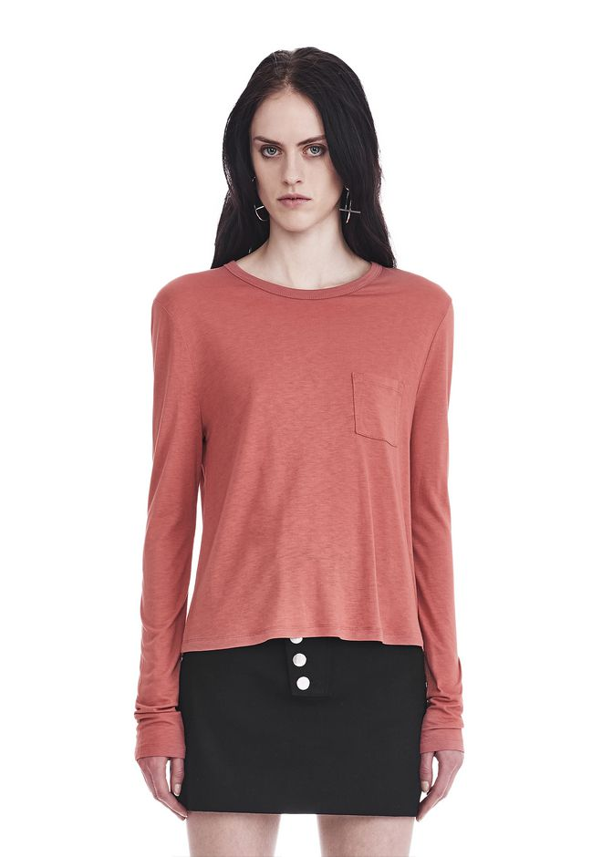 T by ALEXANDER WANG TOPS CLASSIC CROPPED LONG SLEEVE TEE