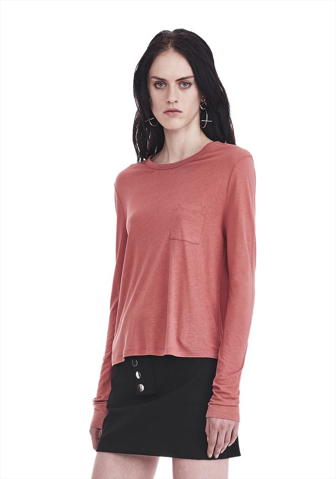T by ALEXANDER WANG CLASSIC CROPPED LONG SLEEVE TEE TOP Adult 12_n_a